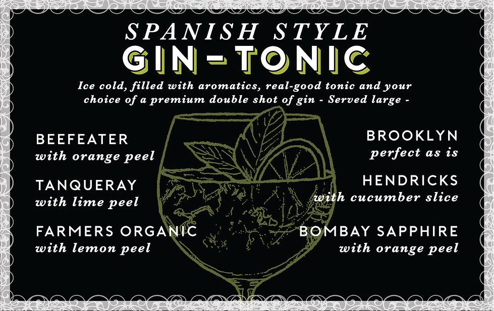 Spanish Style Gin-Tonic Menu