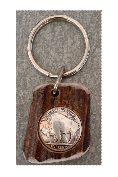 Moose Antler Key Ring-Buffalo Medallion