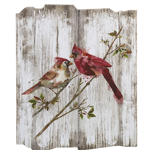 Cardinal pair on branch- wall piece-plaque