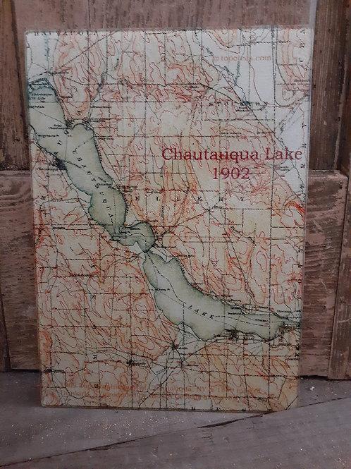 Map of Chautauqua Lake Glass Cutting Board