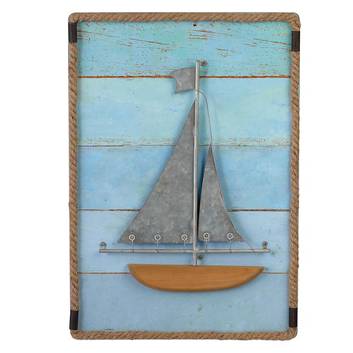 Layered Sail Boat with Rope Wall Decor
