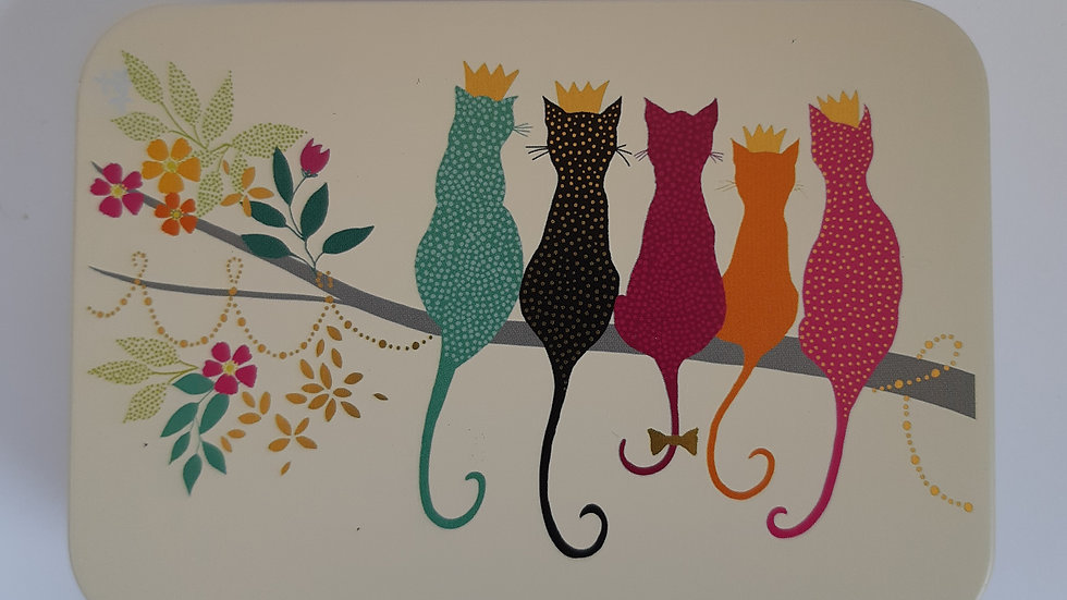 Metal Cats Gift Tin Containing 6 x Handmade Chocolates