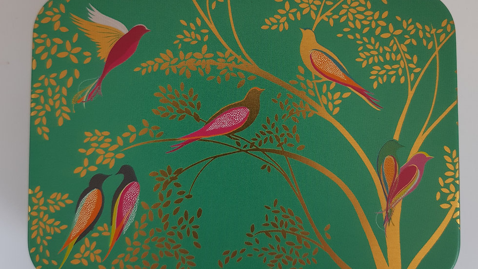 Metal Green Birds Gift Tin Containing 6 x Handmade Chocolates