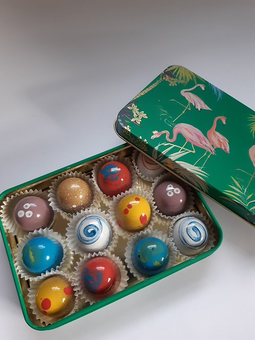 Green Flamingo Gift Tin with Chocolates