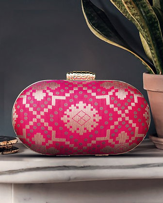 Pink Banaras Capsule Clutch
