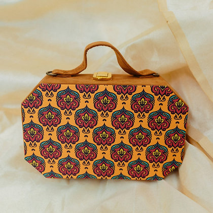 Mustard Floral Print Suitcase Style Clutch