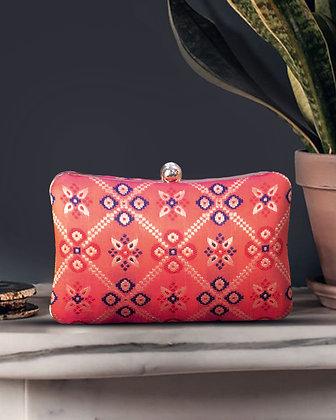 Orange Patola Print Cushion Clutch