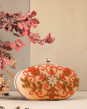 Orange Oval Hand Embroidered Clutch
