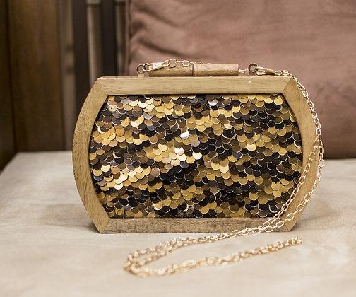 Black Gold Ornate  Wooden Clutch