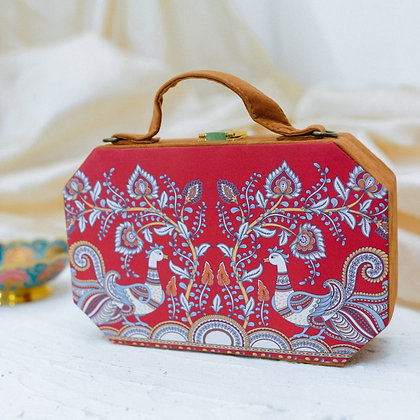 Red Floral Print Suitcase Style Clutch