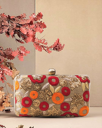 Gold Red Floral Clutch