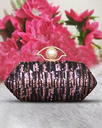 Black Lavender Sequined Clutch