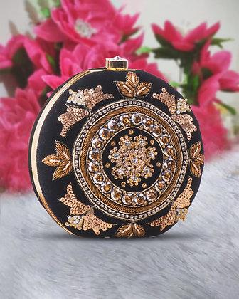 Black Gold Round Hand Embroidered Clutch