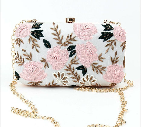 White Baby Pink Enamor Clutch