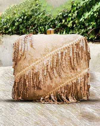 Gold Sequin Fringed Clutch