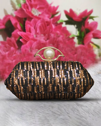 Black Gold Sequined Clutch