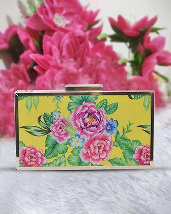 Yellow Floral Mystic Box Clutch