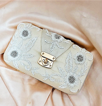 Ivory Embroidered Selena Clutch