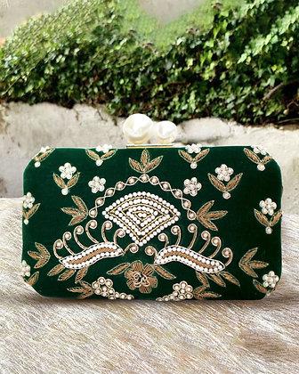 Green Embellished Diana Clutch