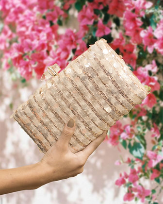 Champagne Gold Sequined Seraphina Clutch