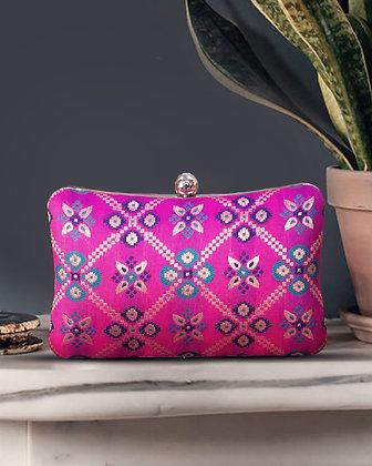 Pink Patola Print Cushion Clutch