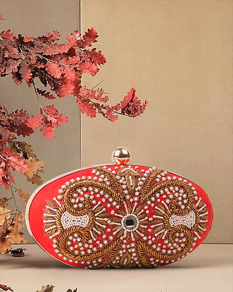 Red Gold Oval Hand Embroidered Clutch