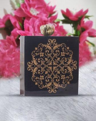 Black Gold Acrylic Box Clutch