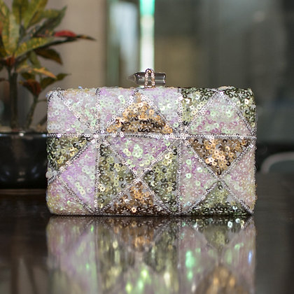 Silver Gold Sequined Clutch