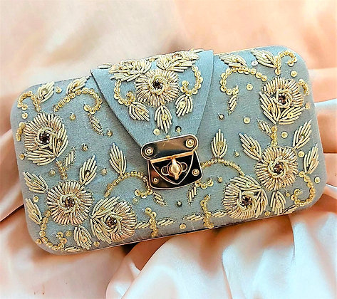Mint Embroidered Selena Clutch