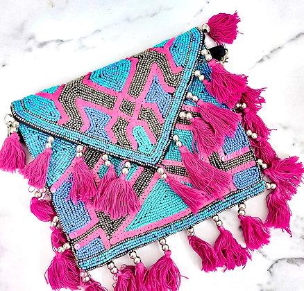 Blue Pink Beaded Banjara Bag
