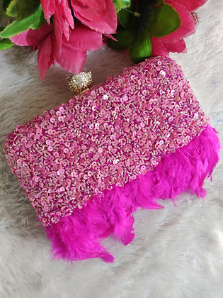 Pink Sequin Feathered Clutch