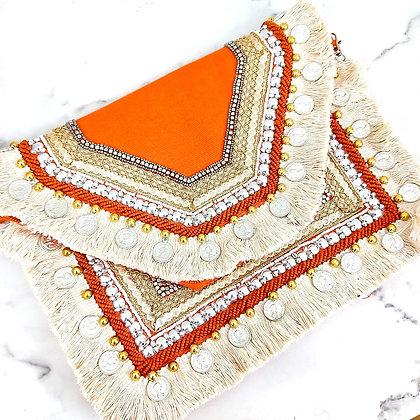 Orange Beaded Banjara Bag