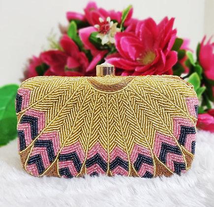 Gold and Pink Melange Clutch
