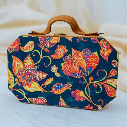 Blue Floral Suitcase Style Clutch