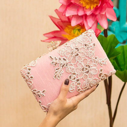 Baby Pink Embriodered Seraphina Clutch