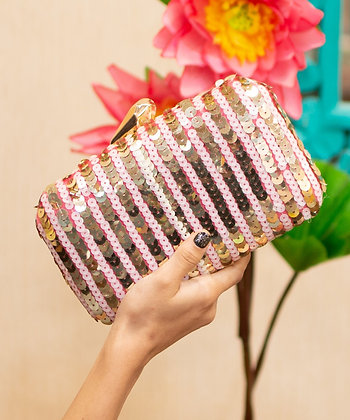 Pink Gold Sequined Clutch