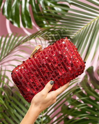 Red Sequined Clutch