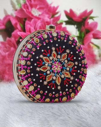 Pink Black Round Hand Embroidered Clutch