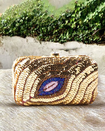 Gold Sequined Peacock Clutch