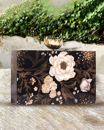 Black Floral Rectangular Acrylic Clutch