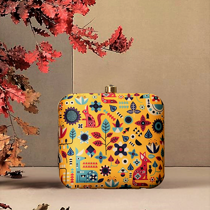 Yellow Printed Clutch