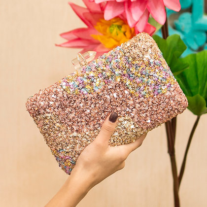 Rose Gold Sequined Seraphina Clutch