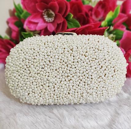 White Beaded Amara Clutch