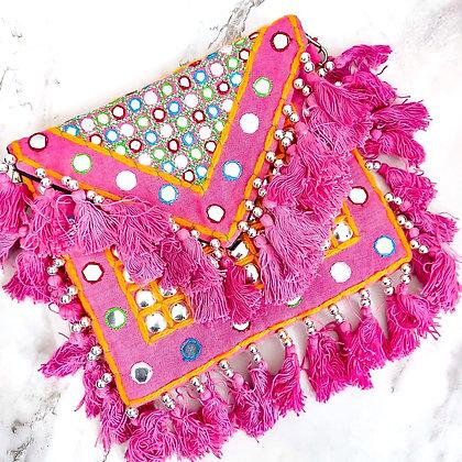 Pink Mirrored Banjara Bag