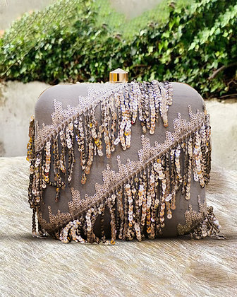 Silver Sequin Fringed Clutch