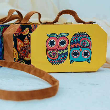 Yellow Owl Print Suitcase Style Clutch