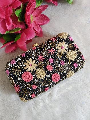 Black Pink Floral Enamor Clutch