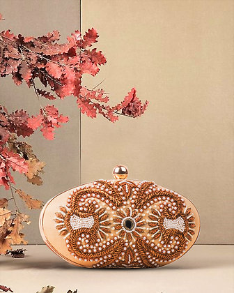 Beige Gold Oval Hand Embroidered Clutch