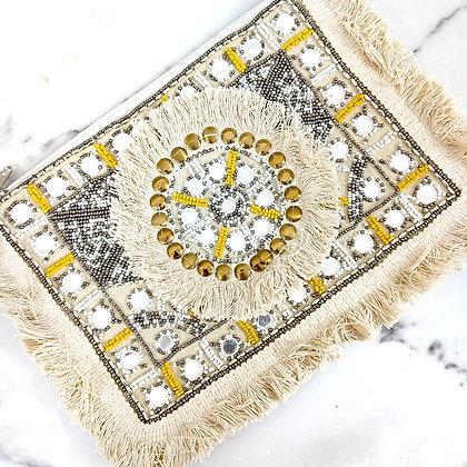 White Mirror Beaded Banjara Bag