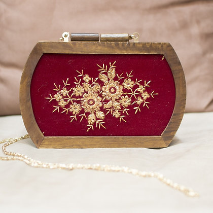 Red Ornate  Wooden Clutch